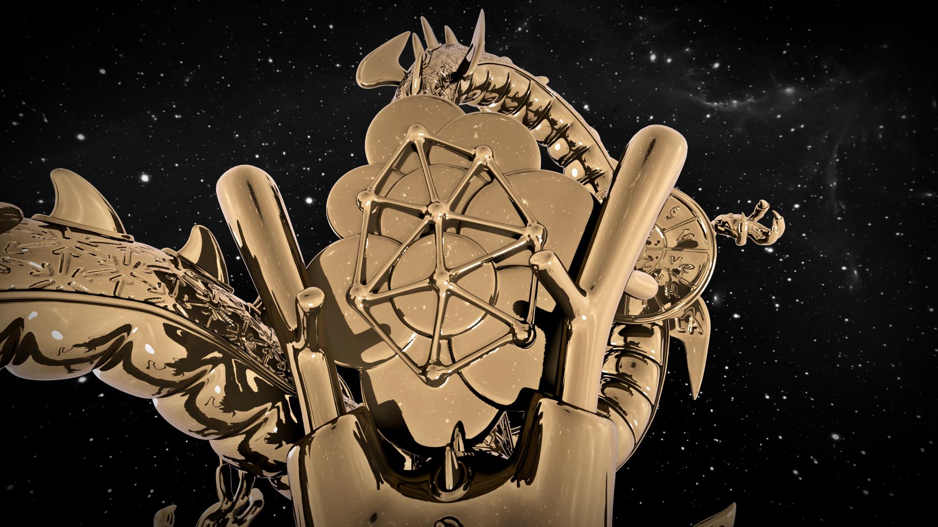 Luca Pozzi, [Arkanian Shenron (3D render), 2020. Scultura in bronzo, rivelatore di particelle INFN, Leds Blu, software di messagistica, AI, connessione internet, profilo twitter (https://twitter.com/arkanianshenron). 70X40x40 cm. Crediti 3D render: Luca Pozzi, Massimo Russo.