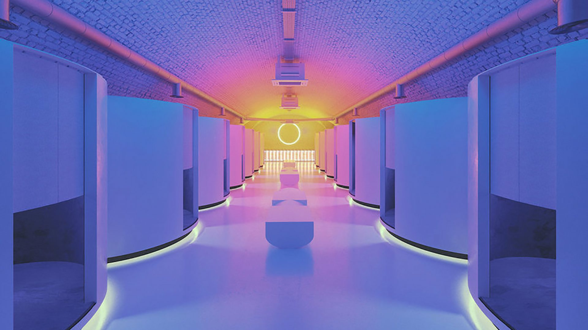 Architecture studio Red Deer has completed a virtual reality entertainment space in an east London railway arch with neon interiors that draw on the work of light artist James Turrell. The Otherworld arcade concept is the first of its kind in the UK, and combines 14 virtual-reality immersion rooms, a bar and a poke kitchen serving raw fish dishes.